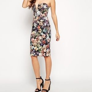 ASOS strapless bustier floral midi dress 14